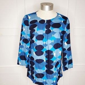Womens Boden Tunic Top Blouse Blue Circles 4 Small